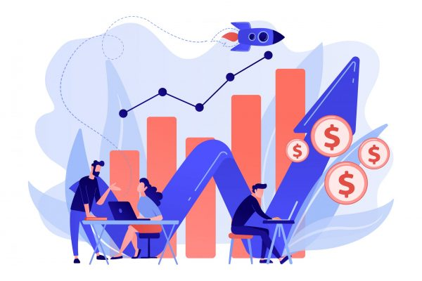 Sales managers with laptops and growth chart. Sales growth and manager, accounting, sales promotion and operations concept on white background. Pink coral blue vector isolated illustration